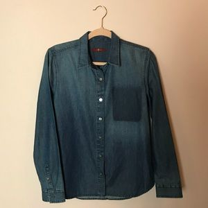 7 For All Mankind Chambray Denim Button Up Top M